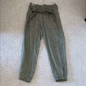 Abercrombie & Fitch olive green drapey joggers